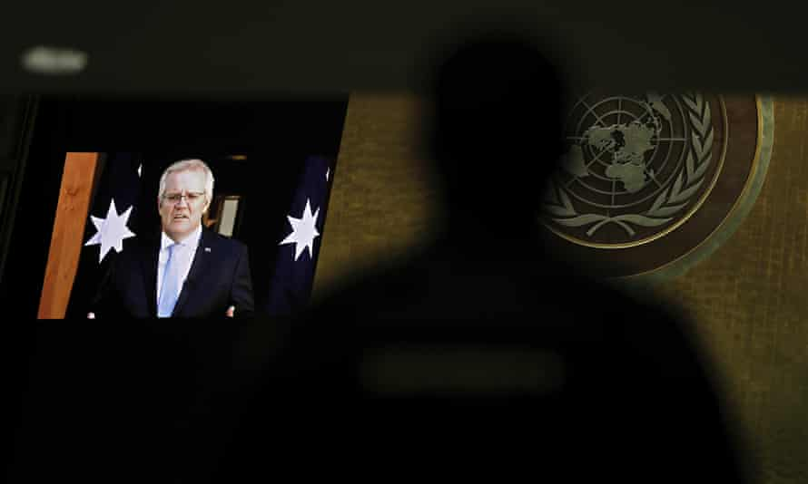 Scott Morrison addresses the UN general assembly in a pre-recorded message.