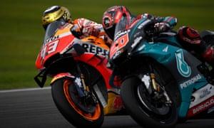 Marc Marquez and Fabio Quartararo go wheel-to-wheel.