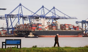 Containers on a ship at Felixstowe. Global and British food supply chains will be disrupted by 'circumstances occurring concurrently at the end of the year', the paper warns.