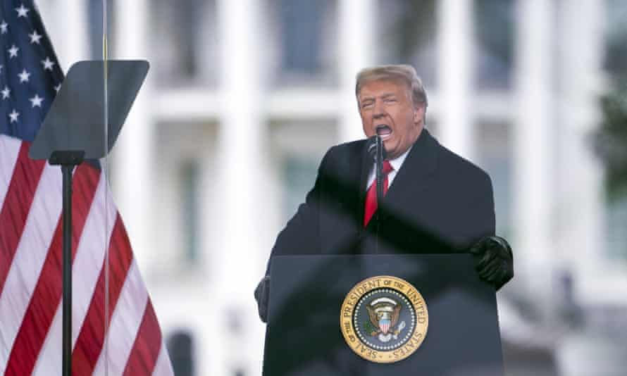 Donald Trump addresses a rally in Washington on 6 January, shortly before his supporters launched an attack on the Capitol to try to prevent certification of Joe Biden's election victory.
