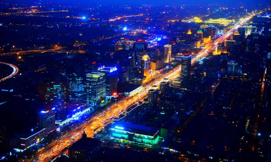 Night view of buildings along the Changan Avenue, the 10-lane thoroughfare which slices east-west through the city, to the south of the imperial palace.