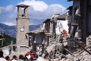 The 13th-century bell tower in Amatrice