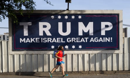 A placard supporting Donald Trump in Tel Aviv.