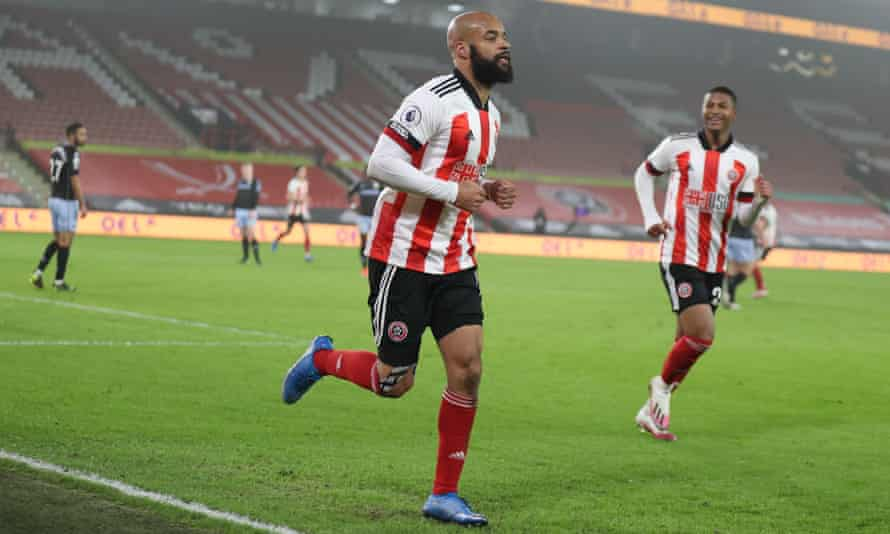 Sheffield United's David McGoldrick celebrates the only goal of their win against Aston Villa