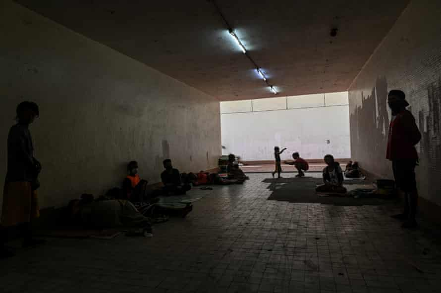 To escape roundups and avoid being placed in community shelters, homeless people hide in the Liwasang Bonifacio underpass.