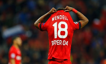 Wendell playing in the Champions League for Bayer Leverkusen.