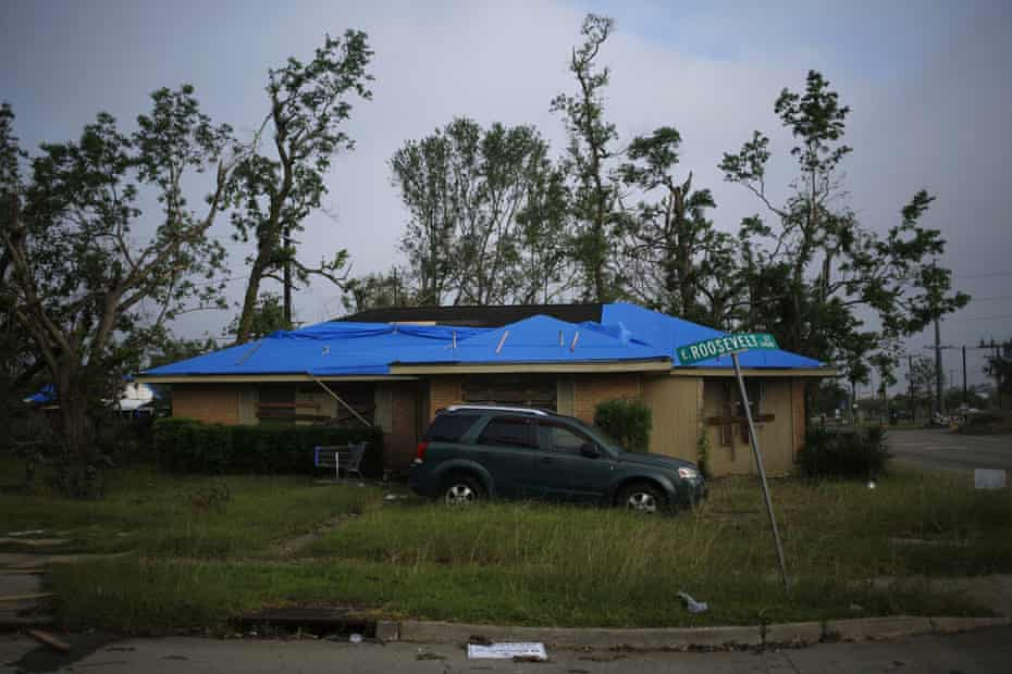 A damaged home stands after Hurricane Delta made landfall in Lake Charles, Louisiana, on 11 October.