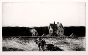 """""""American Landscape,"""" 1920. Etching."""