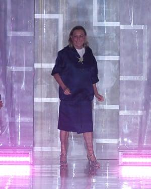 Miuccia Prada on the catwalk at Milan fashion week men's last year.
