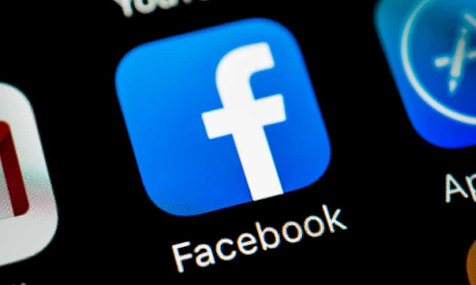 Smartphone screen with Facebook app icon