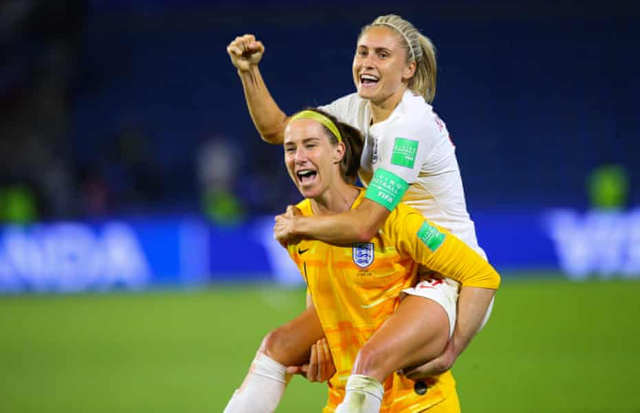 Karen Bardsley enjoys England's World Cup quarter-final win against Norway in 2019 with Steph Houghton but soon discovered she had suffered a serious hamstring injury.