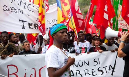 A solidarity demonstration in Riace for Mayor Domenico Lucano, who is accused of encouraging illegal immigration