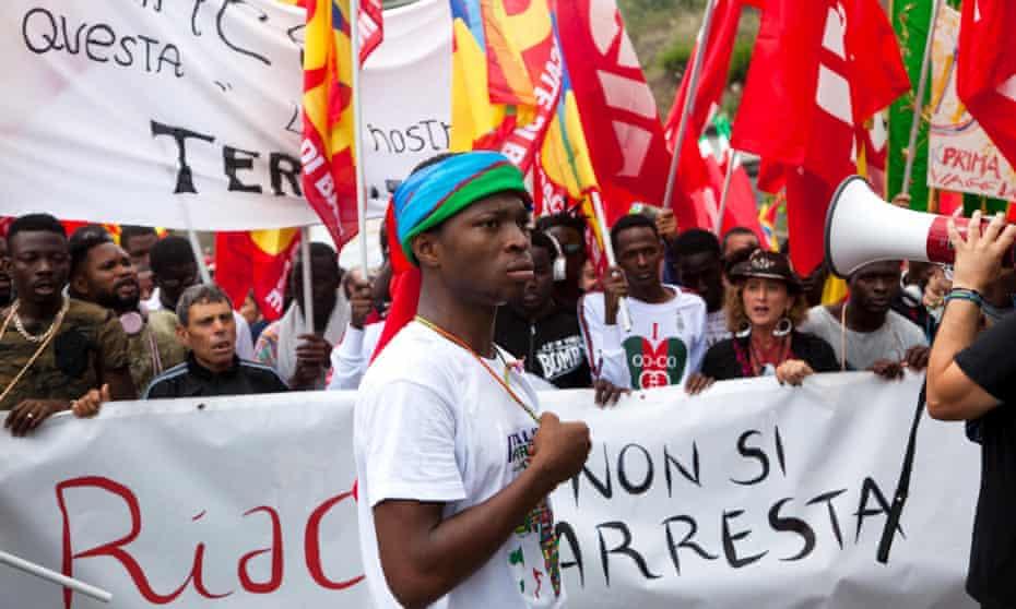 Solidarity demonstration for Mayor of Riace Domenico Lucano