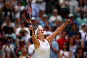 Elina Svitolina celebrates victory against Karolina Muchova.