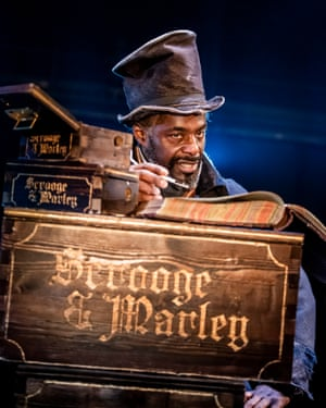 Paterson Joseph as Ebenezer Scrooge in A Christmas Carol at the Old Vic.