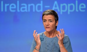EU commissioner Margrethe Vestager during a news conference on Ireland's tax dealings with Apple