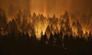 A wildfire burning on the Oregon side of the Columbia River Gorge on 5 September.