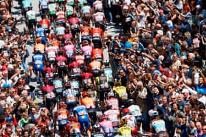 Cuneo, Italy. Riders take the start of stage twelve of the 102nd Giro d'Italia cycle race, 158km from Cuneo to Pinerolo