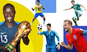 Clockwise from left: N'Golo Kanté of France, Brazil's Philippe Coutinho, Mesut Özil of Germany, England's Harry Kane and the Iran goalkeeper Alireza Beiranvand.