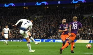 Son Heung-Min of Tottenham Hotspur fires in the opening goal of the game.