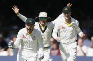 Peter Nevill, Michael Clarke and Adam Voges celebrate taking the wicket of Jos Buttler