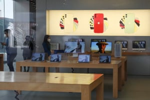 An Apple Store in Beijing today, where the coronavirus crisis has hit iPhone sales