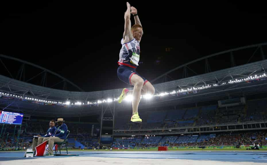Greg Rutherford competes in the long jump final at the Rio Olympics in 2016, where he won bronze.