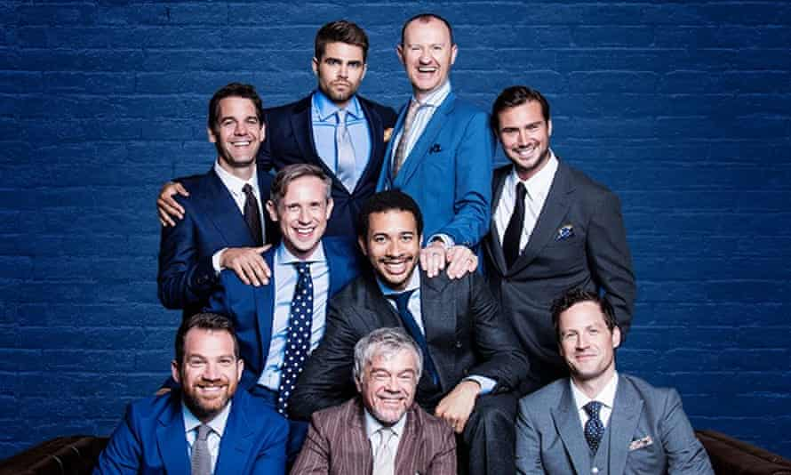 Mark Gatiss, third from right, in The Boys in the Band, at the Park theatre, London
