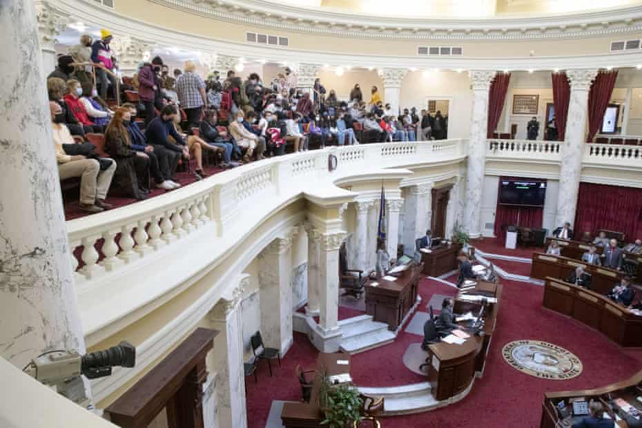 Idaho students are filling the gallery as H377 is discussed and adopted by the Idaho Senate this week.