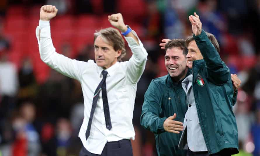 Roberto Mancini celebrates following the penalty shootout win over Spain in the semi-final.