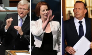 A composite image of Australian Prime Ministers Kevin Rudd, Julia Gillard and Tony Abbott