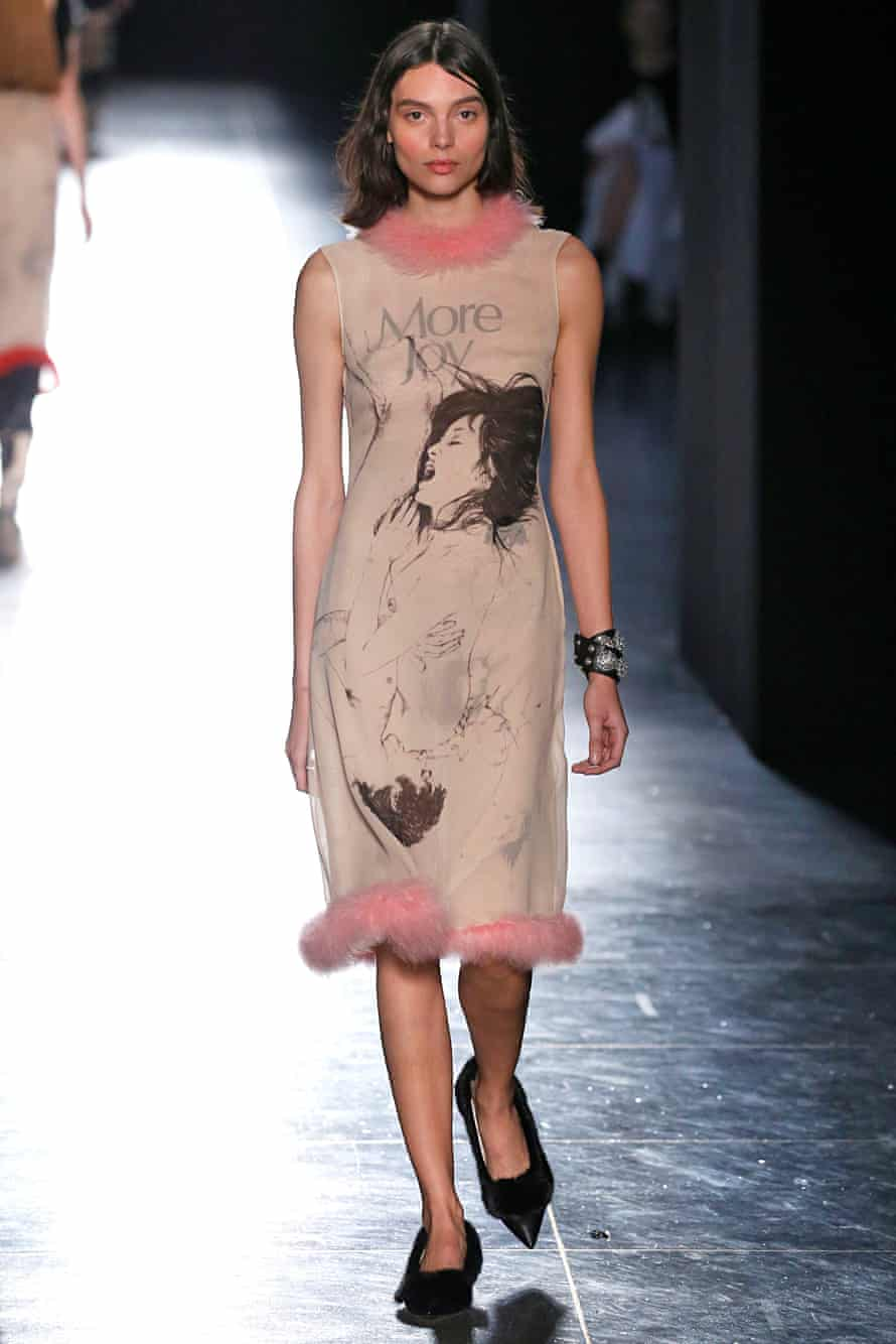 A model at the Christopher Kane show, London fashion week, 2018 – the collection was adorned with drawings and quotes from the seminal 70s manual The Joy Of Sex.