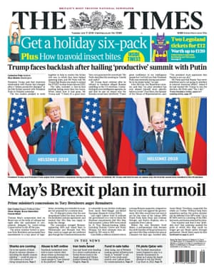 Times Trump front, Tuesday 17 July