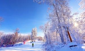 Skier coming down a slope at the Changbaishan (White Mountain Resort), China.