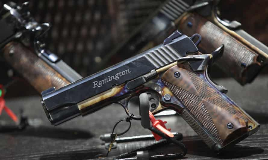 Custom Remington pistols displayed at the 146th NRA annual meetings & exhibits on 29 April 2017 in Atlanta, Georgia.
