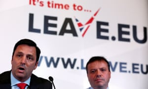 Arron Banks (right) at a Leave.EU press conference in November 2015. Banks gave the campaign £9m, the largest political donation in British history.