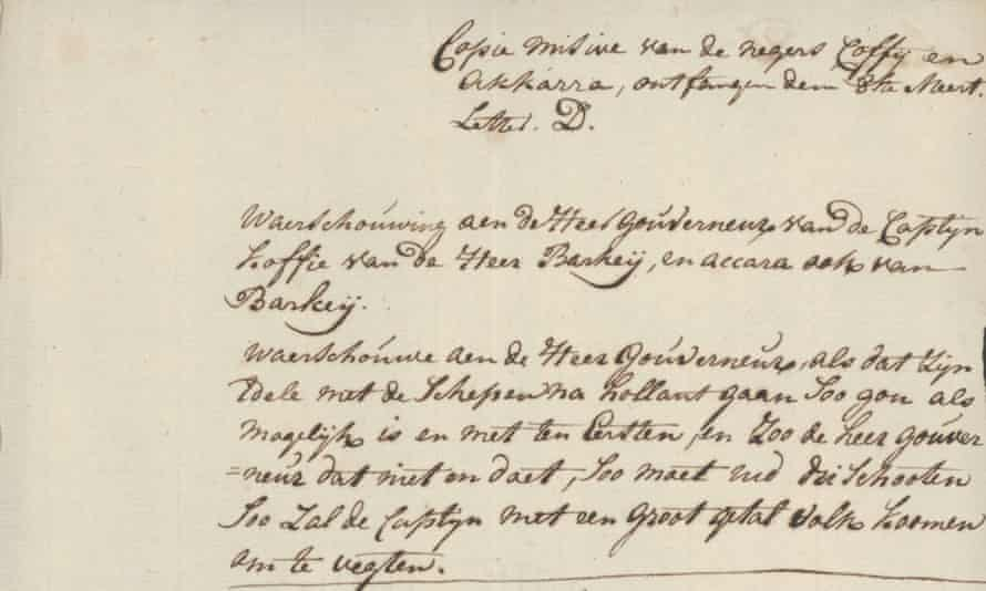 Cuffy's correspondence with the Dutch administrator has been preserved in the collection of the National Archives.