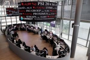 Euronext Stock Exchange services in Paris' financial district of La Defense