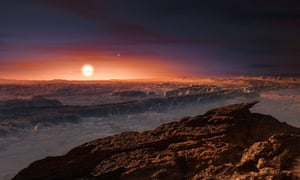 """A hand out image made available by the European Southern Observatory on August 24 2016, shows an artist's impression of a view of the surface of the planet Proxima b orbiting the red dwarf star Proxima Centauri, the closest star to the Solar System. The double star Alpha Centauri AB also appears in the image to the upper-right of Proxima itself. Proxima b is a little more massive than the Earth and orbits in the habitable zone around Proxima Centauri, where the temperature is suitable for liquid water to exist on its surface.  Scientists on August 24, 2016 announced the discovery of an Earth-sized planet orbiting the star nearest our Sun, opening up the glittering prospect of a habitable world that may one day be explored by robots. Named Proxima b, the planet is in a """"temperate"""" zone compatible with the presence of liquid water -- a key ingredient for life.   / AFP PHOTO / EUROPEAN SOUTHERN OBSERVATORY / M. KornmesserM. KORNMESSER/AFP/Getty Images"""