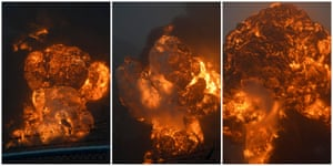 A combination photo shows a sequence of an explosion erupting from the train's derailment.