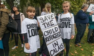 Children attend a Safe Passage rally outside Parliament before lobbying MPs on the anniversary of the destruction of the Calais Jungle in October 2017