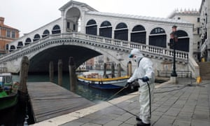 The Rialto Bridge in Venice is sanitised as a measure against the coronavirus.
