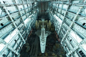 Kazakhstan Two Soviet-era Buran space shuttles at the Baikonur Cosmodrome. 'This image is the result of 180km of off-road driving in the Kazakhstan desert, followed by 45km of walking in a highly restricted area … two relics of the Soviet space race in a huge abandoned warehouse.'