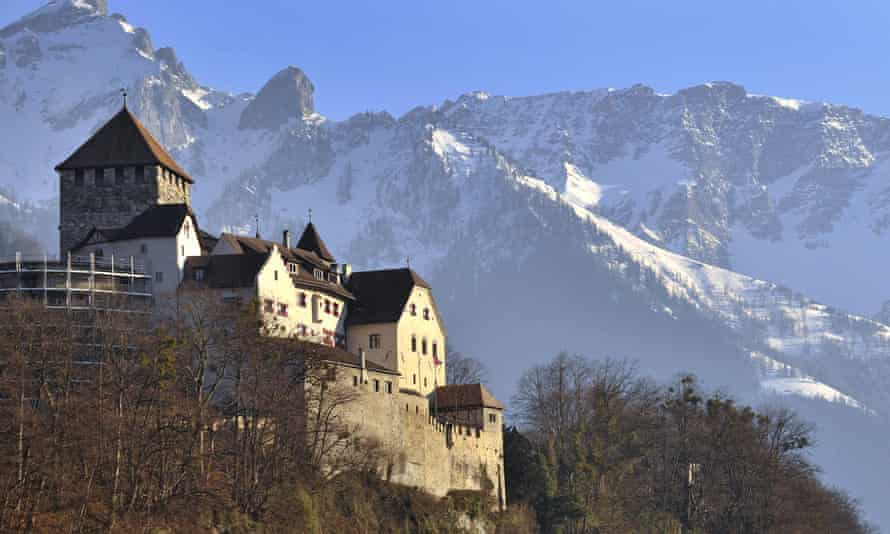 Home of the Princely House of Liechtenstein, The Castel of Vaduz (UP L) is pictured on February 19, 2008 above Liechtenstein's capital Vaduz. Crown Prince Alois today accused Germany of undermining the principality's sovereignty and breaking the law by paying between four and five million euros for information on alleged German fraudsters to a mysterious informer who officials in Leichtenstein say stole the data in 2002. AFP PHOTO / Fabrice Coffrini (Photo credit should read FABRICE COFFRINI/AFP/Getty Images)