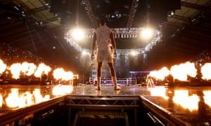 Anthony Joshua enters the arena.