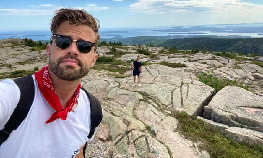 David Mack, pictured at Maine's Acadia national park, has been living in the United States for seven years but misses Australia more than ever
