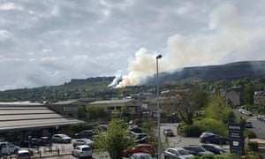 Smoke rises from Ilkley Moor after a fire broke out on Saturday.