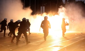 Riot police disperse protesters