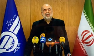 Ali Abedzadeh holds a press conference about the plane crash in Tehran.