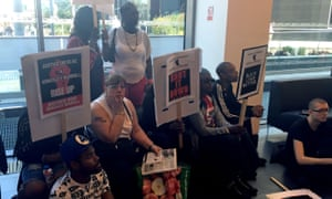Black Lives Matter protesters occupy the lobby of the CPS after rally in front of Birmingham Cathedral.
